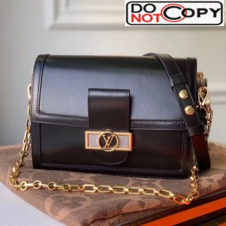 Louis Vuitton Dauphine MM Smooth Leather Shoulder Bag M55735 Black