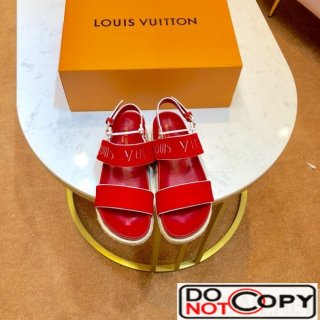 Louis Vuitton Fabric Slingback Flat Espadrilles Sandals Red