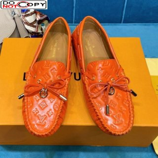 Louis Vuitton Gloria Monogram Leather Flat Loafer Orange