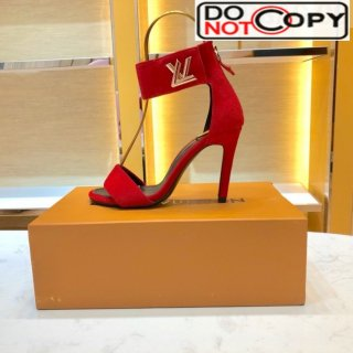 Louis Vuitton Horizon Suede Ankle Strap High Heel Sandals Red