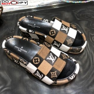 Louis Vuitton Jumbo Damier Canvas Flatform Slide Sandals Brown