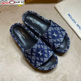 Louis Vuitton Jumbo Since 1854 Flatform Slide Sandals Blue