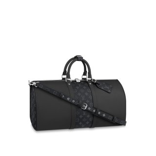 Louis Vuitton Keepall 50 Bandouliere Travel Bag M53764 Black