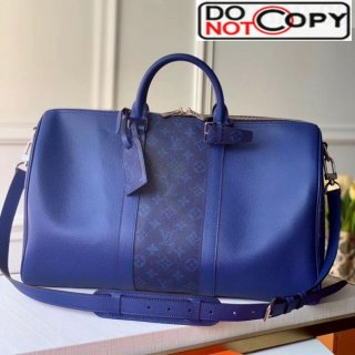 Louis Vuitton Keepall 50 Bandouliere Travel Bag M53764 Royal Blue