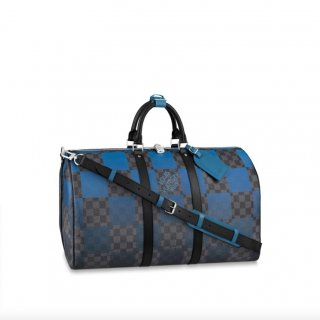 Louis Vuitton Keepall Bandouliere 50 Travel Bag in Blue Damier Giant Canvas N40410 bag