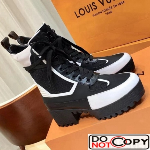 Louis Vuitton Knit and Leather Laureate Desert Boot 1A43LX Black