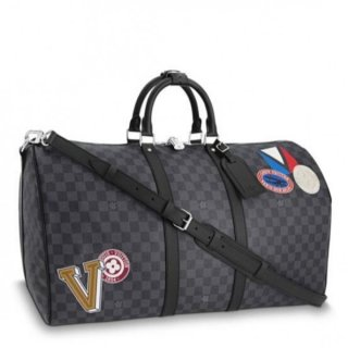 Louis Vuitton League KeepAll 55 Bandouliere Damier Graphite Stickers N41058
