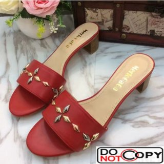 Louis Vuitton Leather Studs 4cm Heel Sandal Red