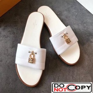 Louis Vuitton Lock It Flat Slide Sandals 1A4FG7 White Leather
