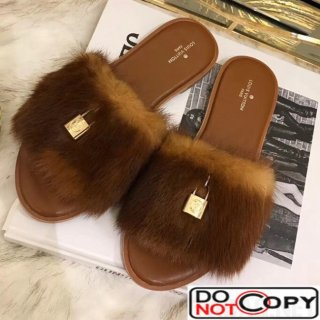 Louis Vuitton LOCK IT Mink Flat Mule Brown