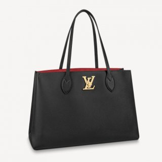 Louis Vuitton Lockme Shopper Tote Bag in Grained Leather M57345 Black bag