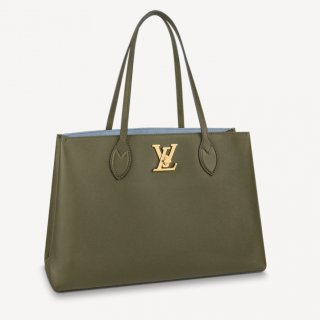 Louis Vuitton Lockme Shopper Tote Bag in Grained Leather M57508 Khaki Green bag
