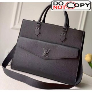 Louis Vuitton Lockme Tote MM Bag in Grainy Calfskin M55846 Black bag