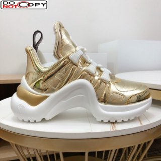 Louis Vuitton LV Archlight Metallic Leather Sneakers Gold 298
