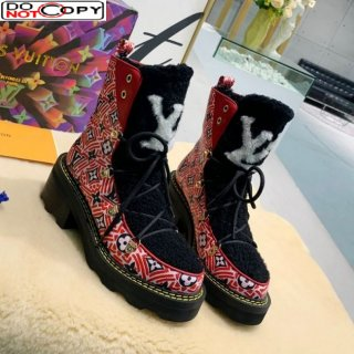 Louis Vuitton LV Beaubourg Short Boots in Crafty Canvas and Shearling Wool 1A8CUQ Red