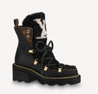 Louis Vuitton LV Beaubourg Short Boots in Leather and Shearling Wool 1A8CUQ Black