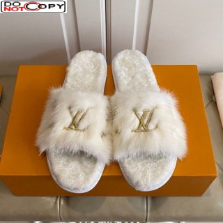 Louis Vuitton LV Embroidered Mink Fur Homey Mules White (For Women and Men)