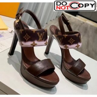 Louis Vuitton LV Escale Calfskin Platform Sandal With 10.5cm Heel Brown