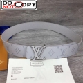 Louis Vuitton LV Initials Monogram Canvas Reversible Belt 40mm with LV Buckle White M0158S