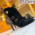 Louis Vuitton LV Janet Suede High Heel Ankle Short Boot Black Suede