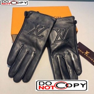 Louis Vuitton LV Lambskin and Cashmere Gloves 10 Black