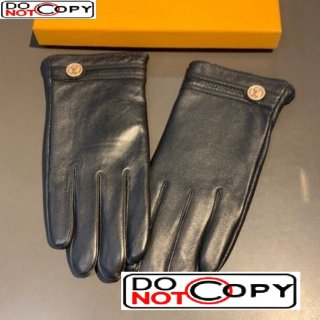 Louis Vuitton LV Lambskin and Cashmere Gloves 21 Black