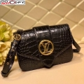 Louis Vuitton LV Pont 9 Shoulder Bag in Crocodile Embossed Leather N98478 Black bag