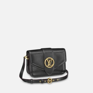 Louis Vuitton LV Pont 9 Shoulder Bag in lizard Embossed Leather N98264 Black bag