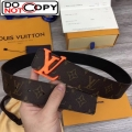 Louis Vuitton LV Shaped Monogram Canvas Belt 40mm with Orange LV Buckle MP216T