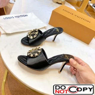 Louis Vuitton Madeleine Silk Crystal LV Circle Heel Slide Sandals Black