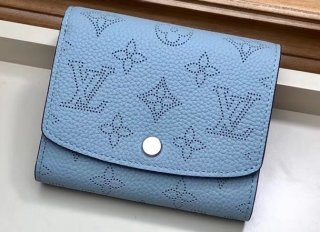 Louis Vuitton Mahina Leather Iris Compact Wallet M67406 Bleu Horizon Pumpkin bag
