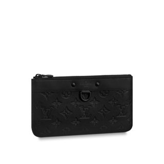 Louis Vuitton Men's Discovery Pochette PM Monogram Embossed Leather Pouch M44335