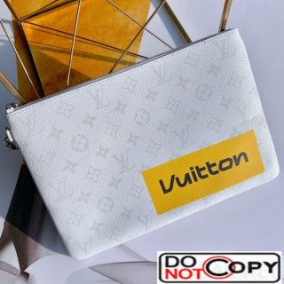 Louis Vuitton Men LV Logos Zipped Pochette Chaine Pouch GM M68310 White