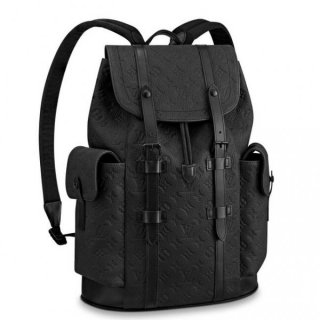 Louis Vuitton Men's Christopher PM Backpack in Monogram Embossed Leather M55699 Black bag