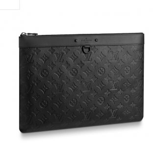 Louis Vuitton Men's Discovery Pochette Pouch in Monogram Embossed Leather M62903 Black bag