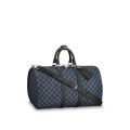Louis Vuitton Men's Keepall Bandouliere 45 Damier Graphite Canvas N41418 Black Bag