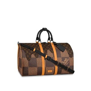 Louis Vuitton Men's Keepall Bandouliere 50 Bag in Giant Damier Ebene Canvas N40360 bag