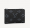 Louis Vuitton Men's Pochette Jour GM Pouch in Monogram Embossed Leather M80044 Black Bag