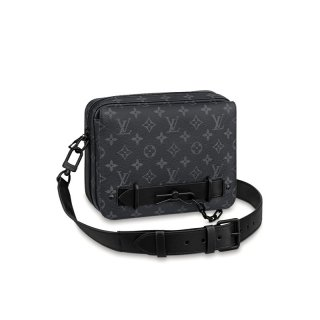 Louis Vuitton Men's Steamer Monogram Canvas Messenger Bag M45585 Black bag