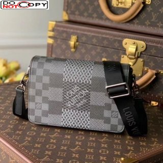 Louis Vuitton Men's Studio Messenger Bag in Damier 3D Canvas N20206 Dark Grey bag