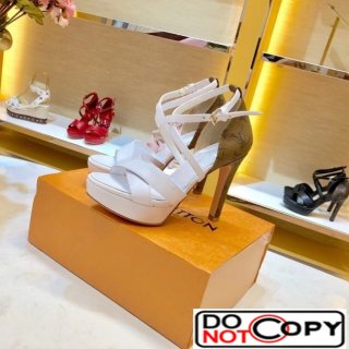 Louis Vuitton Monogram Calfskin Platform Heel Sandals White Coffee
