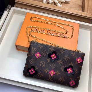 Louis Vuitton Monogram Canvas Blooming Flowers Pochette Double Zip Bag M63905 Black bag