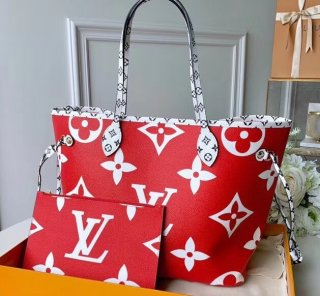Louis Vuitton Monogram Canvas Neverfull MM Tote Bag M44567 Red-White-Pink bag