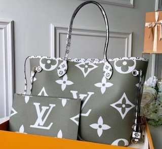 Louis Vuitton Monogram Canvas Neverfull MM Tote Bag M44568 Kaki-White-Apricot bag