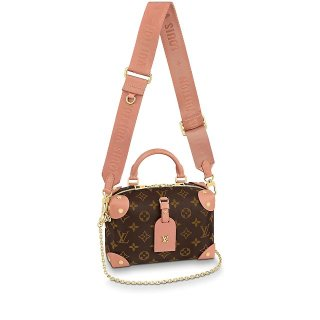 Louis Vuitton Monogram Canvas Petite Malle Souple Handbag M45531 Peach Pink bag