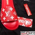 Louis Vuitton Monogram Canvas Supreme Mules Sandals Red