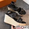 Louis Vuitton Monogram Canvas Wedge Espadrilles Sandals Black