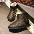 Louis Vuitton Monogram Canvas Wool Short Boots with LV Strap