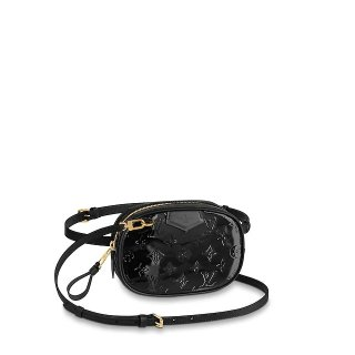 Louis Vuitton Monogram Patent Leather Belt Bag M90464 Black