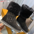 Louis Vuitton Monogram Suede Short Boots with Wool Foldover Black
